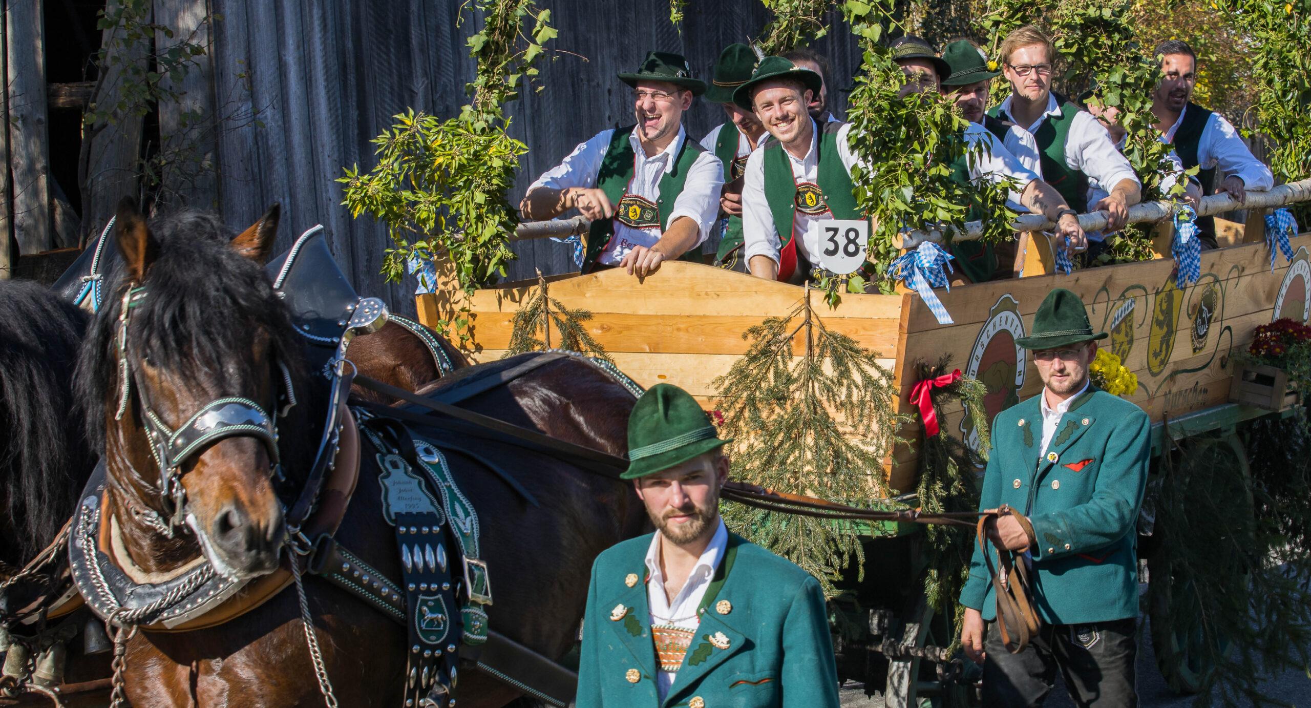 Pferdegespann mit Burschenverein Grafing bei der Leonhardifahrt Grafing gesponsert von Rothmoser