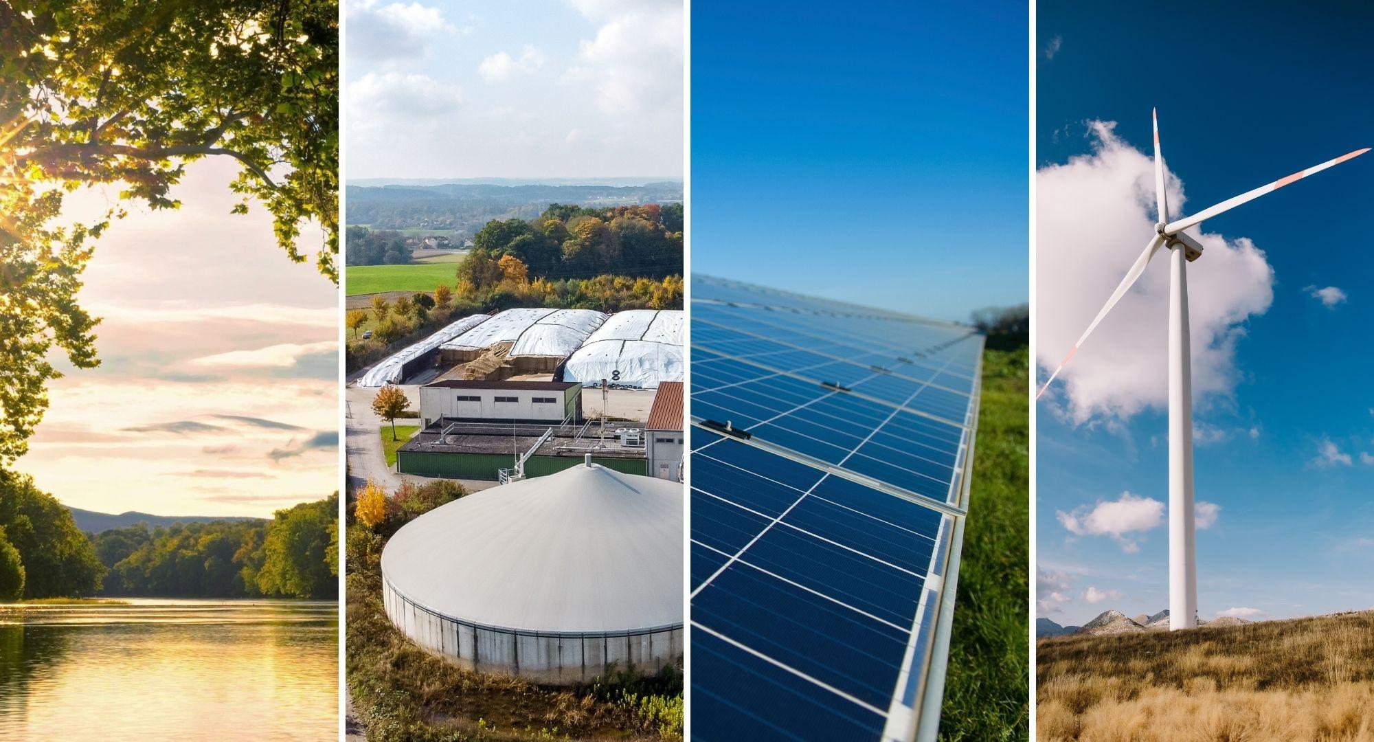 Regnerative Enerigequellen wie Wasserkraft, Biomasse, Sonnenenergie und Windkraft